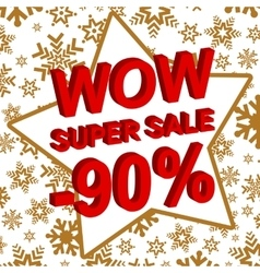Winter sale poster with wow super sale minus 90 vector