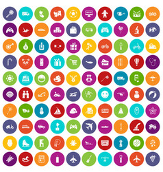 100 toys for kids icons set color vector