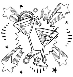 doodle pop martini vector image