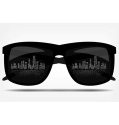 Sunglasses with the city in the background vector