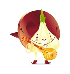 Onion character in boots and sombrero playing vector