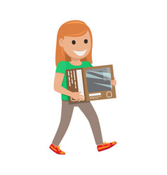 Redhead girl with box  shopping day vector