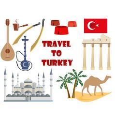 Travel to turkey symbols of turkey tourism vector