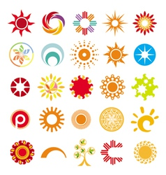 collection of abstract symbols of the sun vector image