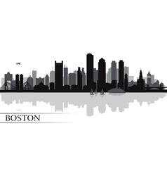 Boston city skyline silhouette background vector