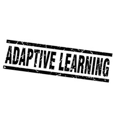 Square grunge black adaptive learning stamp vector
