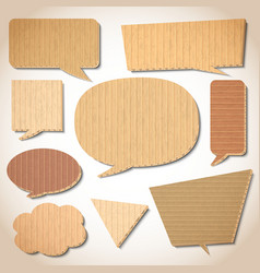Cardboard speech bubbles set vector