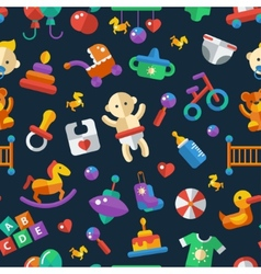 Flat design cute baby pattern with icons vector