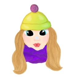 Winte cartoon girl with snowlake on her nose vector