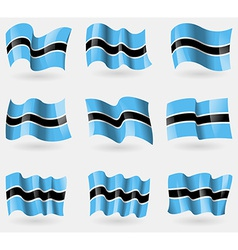 Set of botswana flags in the air vector