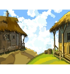 Cartoon courtyard with rustic wooden buildings vector