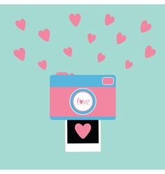 Camera instant photo in flat design style pink vector