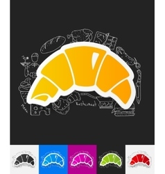 Croissant paper sticker with hand drawn elements vector