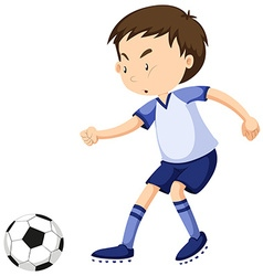Boy playing soccer alone vector