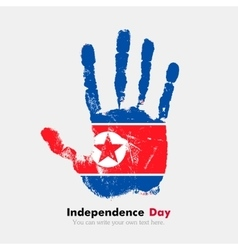 Handprint with the flag of democratic peoples vector
