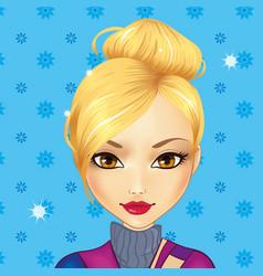 Avatar cute blond girl vector