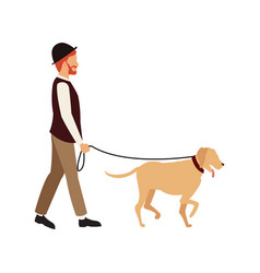 bearded gentleman man walking with dog character vector image