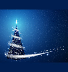 Blue christmas tree blizzard snowflakes stars vector