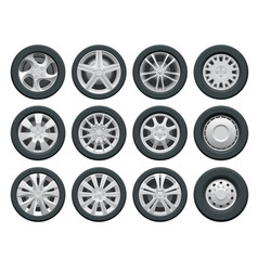 car wheels set for design auto service shop vector image