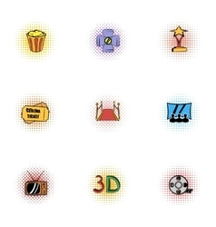 Cinema icons set pop-art style vector