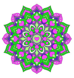 colored mandala with hearts round symmetrical vector image vector image