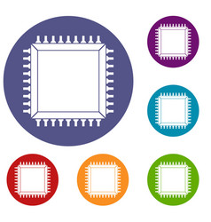 Computer microchip icons set vector