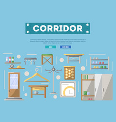 Corridor furniture poster in flat style vector