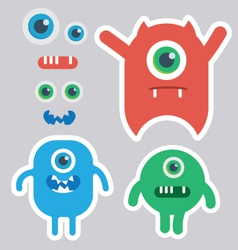 Cute monster designer kit vector