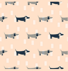 Dachshund dog scandinavian seamless peach vector