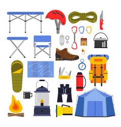 Equipment for hiking and climbing camping or vector