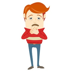 Frustrated hipster character with a sore throat vector image