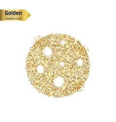 Gold glitter icon of pizza isolated on vector