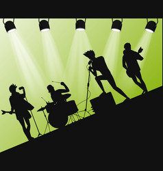 Hard rock band silhouette on stage action angle vector