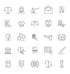 law and lawyer signs black thin line icon set vector image vector image