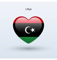 Love libya symbol heart flag icon vector