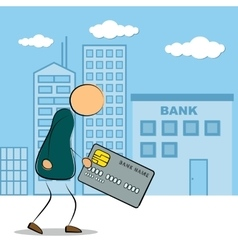Man going to bank building with credit card vector image