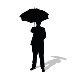 man with umbrella silhouette vector image
