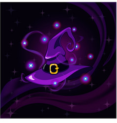purple witch hat vector image vector image