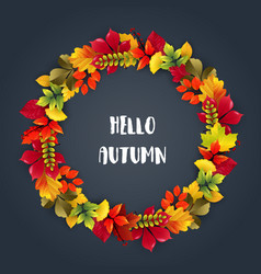 round frame of autumn leaves vector image
