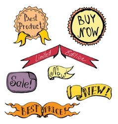 set of badge label ribbon doodle hand drawing vector image