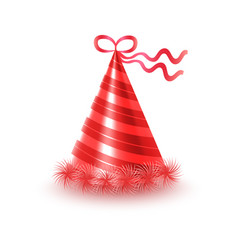 Striped red party hat with ribbon icon vector