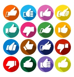Thumbs up set on round buttons vector
