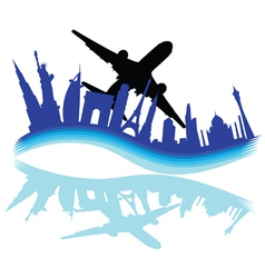 travel through various cities of the world vector image