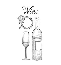 wine set wine glass bottle grape branch vector image vector image