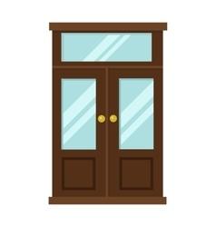 Wood two red and gray elegant entrance door vector image