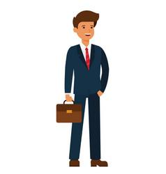 young happy businessman cartoon flat vector image