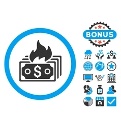 Burn banknotes flat icon with bonus vector