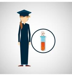 Graduate student girl chemistry design vector
