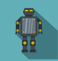 Steel robot icon flat style vector