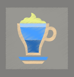 flat shading style icon cup of coffee mocha vector image